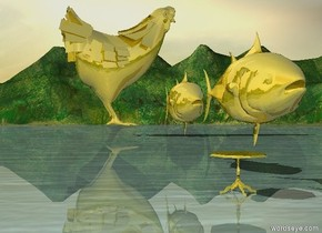 The huge golden Tuna is 5 inch above the golden table. a huge golden Tuna is 10 inch behind the huge tuna. a gigantic golden chicken is 600 inch behind the Tuna. The chicken is facing right