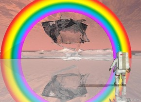 The very enormous transparent cube is -45 feet above the rainbow. it is leaning right. The extremely bright white light is in front of the cube. the ground is shiny. The enormous transparent rock is 20 feet inside the cube. The astronaut is 100 feet behind the rainbow.