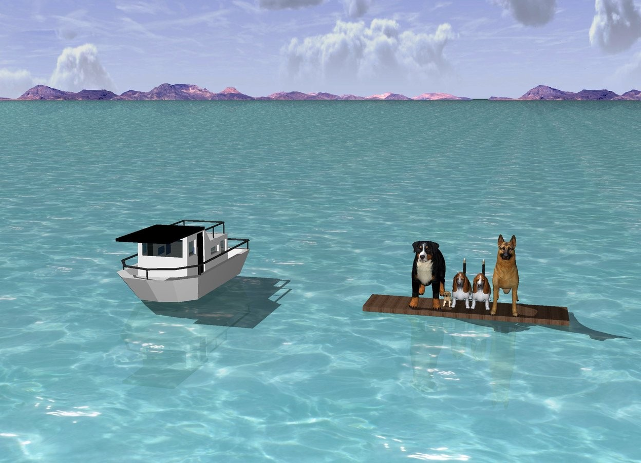 Input text: 5 dogs on a large plank. The ground is water. A tiny boat 100 inches next to the dogs. Green mountains in the background