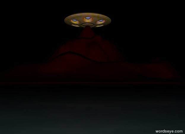 Input text: The bright gold and pink UFO is above the dark maroon Mountain. It is night.  Ground is dark  water.