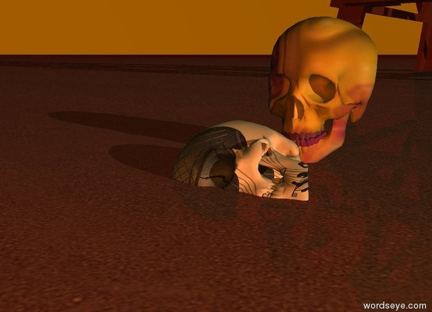 Input text: The ground has a sand texture . The ground is maroon. It is dawn.   The bone is leaning 85  degrees to the right.   The bone is 2 inches in the ground.   The bone is neon.   The camera-light is red copper.    The tower is 10 feet behind the bone.  The skull behind the bone. The skull is paint.  The sky is orange.