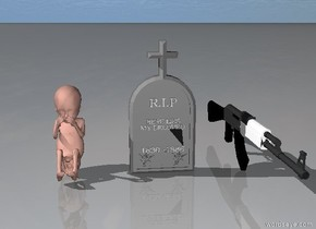 There is a tombstone.  There is a giant baby one foot to the left of the tombstone.  There is a large gun one feet to the right of the tombstone.