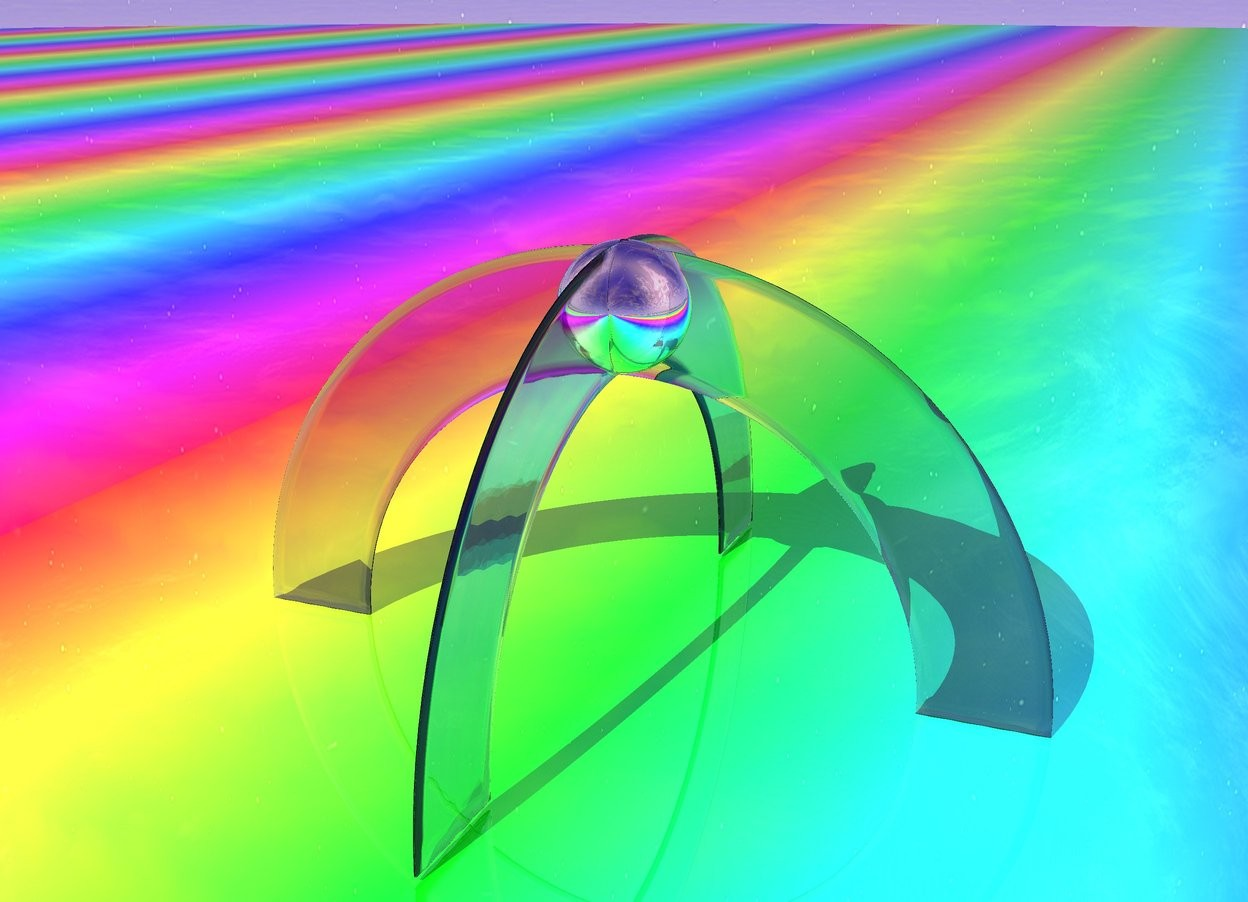 Input text: there is a clear rainbow. there is a clear azure rainbow above the clear rainbow. it is 51 feet in it. it faces west. the ground is 300 feet wide shiny rainbow. there is a 15 feet tall silver sphere 15 feet in the clear azure rainbow.