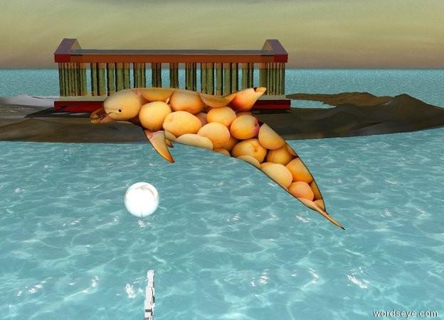 """Введите текст: Первый является вода.  Сеть [персик] дельфин пять футов над землей.  Блестящий шар ниже дельфина.  Существует большая [песок] остров 50 футов слева от дельфина.  Сеть [песок] остров 1 фут в землю.  Существует небольшой греческий храм на острове.  Греческий храм понятно.  Греческий храм перед дельфина.  """"собирание время"""" находится на земле внизу дельфина."""