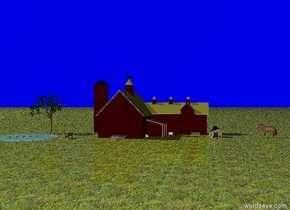 The horse is facing the dark red barn. The sky is light blue. The ground is grass. ten feet from the barn is an apricot tree. ten feet in front of the tree is a pond. there are five codfish in the pond. the codfish are twenty inches apart. the codfish are one inch in the pond.  five feet to the right of the pond is a park bench. the park bench is facing the pond.  fifteen feet from the horse is a  very small pen. three feet in front of the very small pen are two cocks. the cocks are six inches apart. thirty eight inches in front of the very small pen is an egg.  .
