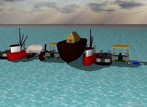 ten boats on the ocean