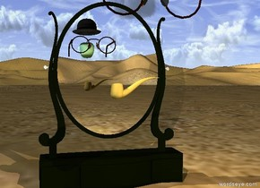 a pipe is a foot in front of the mirror. it is 1.5 feet above the ground. the hat is 1.5 feet in front of the pipe. it is 3 feet above the ground. the celadon green apple is 2 inches below the hat.  the big pair of eyeglasses are behind the apple. they are facing back. the gold light is behind the glasses. the sun is summer rain blue. the baby pink light is in front of the pipe. the camera light is sea mist blue.