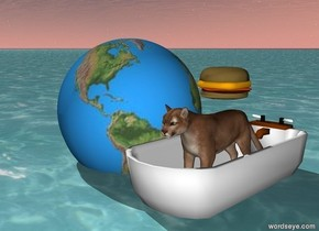 The cat is in the bathtub on the water. There is a large earth to the left of the bathtub. There is a large hamburger above the cat.