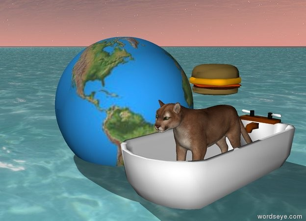 Input text: The cat is in the bathtub on the water. There is a large earth to the left of the bathtub. There is a large hamburger above the cat.