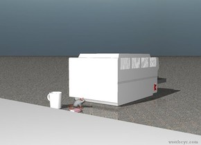 The  gray rat is one foot to the left of the very large printer.  The ground is brown carpet.  The large white coffee cup is behind and to the left of the rat.  A large pink eraser is one foot in front of the large white coffee cup.  The ceiling is white.  the office cubicle is white.