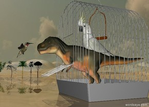 the tiny dinosaur is in the huge birdcage. the huge cockatoo is 1.7 feet in the dinosaur. the huge hummingbird is 3 inches in front of the dinosaur. it is 2.8 feet above the ground. it is facing the dinosaur. the ground is shiny. There are 5 trees 40 feet to the left of the birdcage. they are 5 feet tall.