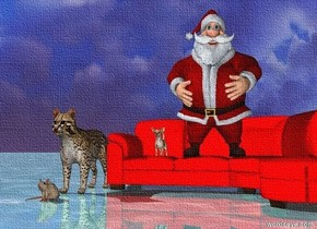 The dog is on the red couch. The ground is shiny blue water. A cat is there to the left of the couch. There is a mouse in front of the cat. Santa is on the couch.