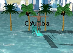 "There is water.  There is a small man on a turquoise diving board.  There is a city in the background.  There are 4 extremely small palm trees behind the diving board.  There is black ""Columbia"" 10 feet  behind the diving board."