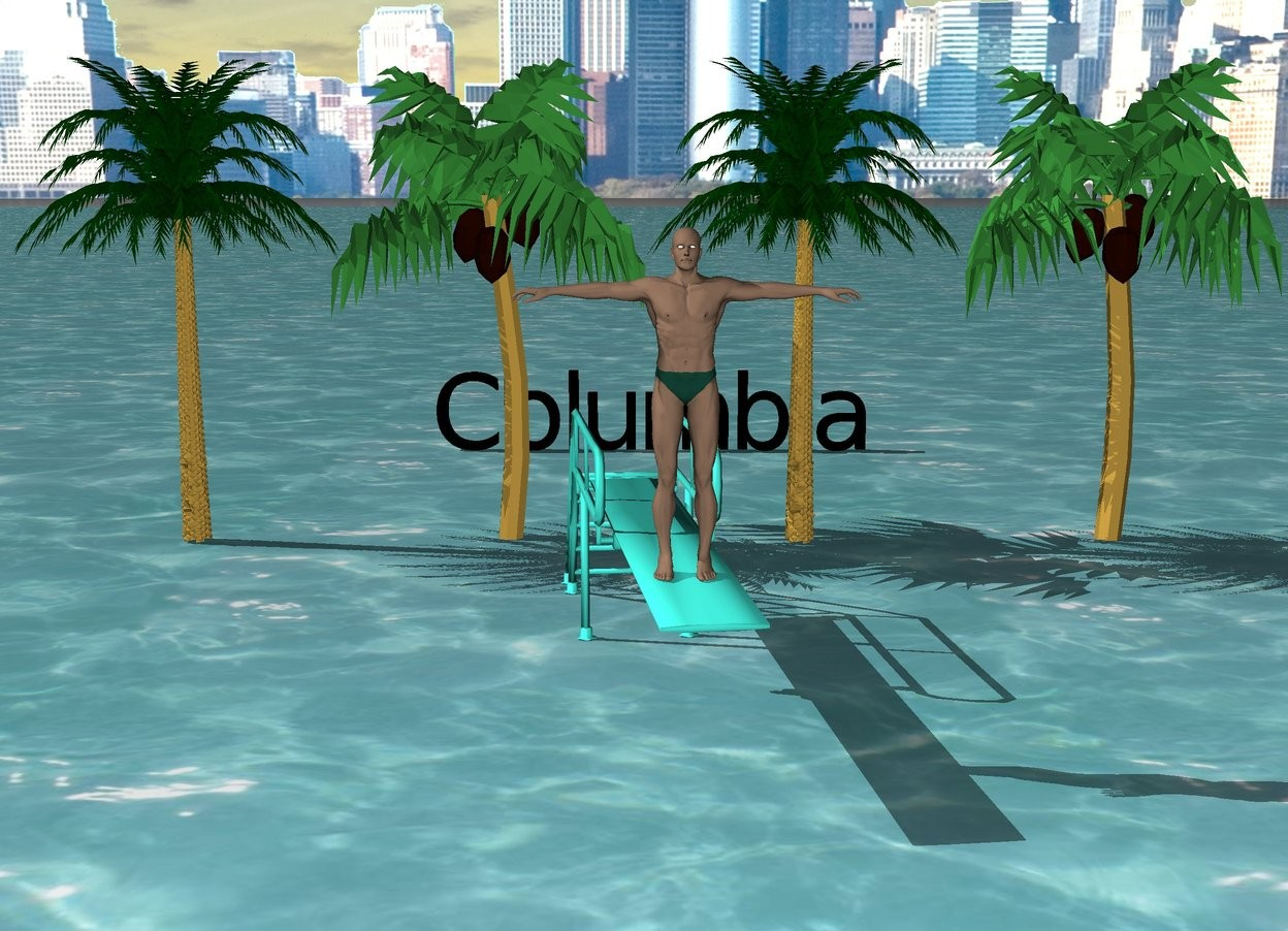 "Input text: There is water.  There is a small man on a turquoise diving board.  There is a city in the background.  There are 4 extremely small palm trees behind the diving board.  There is black ""Columbia"" 10 feet  behind the diving board."