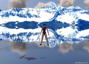 the girl is 3 foot above the ground.  in the background there are mountains.  the mountains are pink and purple.  the ground is transparent water.  there are 5 red fish.   the fish are 5 foot under the girl.  the girl is purple and transparent.