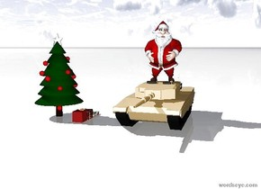 Tank is four foot right of the christmas tree. Ground is snow. The santa is on the tank. Three presents are right of the tree. 10 elf are on the tank.
