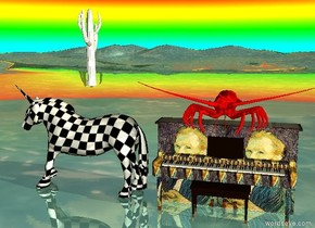 the checkerboard unicorn is on the shiny water ground. it is facing left.  the small white cactus is on the unicorn. a very big red lobster is on the  van gogh piano. a big rainbow in the background. it is dawn. mountain range.