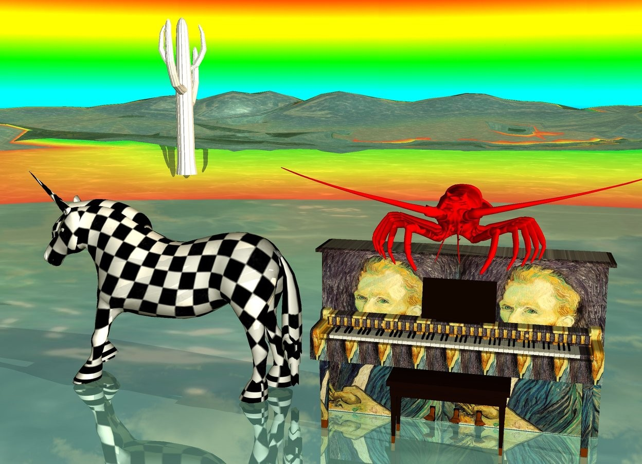 Input text: the checkerboard unicorn is on the shiny water ground. it is facing left.  the small white cactus is on the unicorn. a very big red lobster is on the  van gogh piano. a big rainbow in the background. it is dawn. mountain range.
