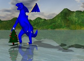The christmas tree is on a surfboard in front of a blue dragon