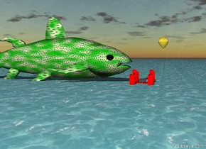 The cat is on the red bridge over the ocean. A metal balloon is in the sky. An enormous green dotted fish is behind the bridge.