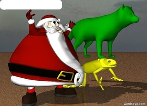There is a big green fox flying above a giant yellow frog. The ground is made of sand. Small Santa