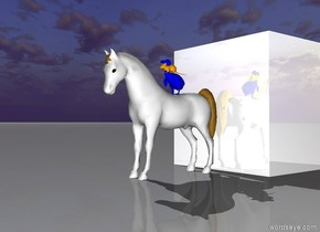 the small white horse is in front of the giant shiny cube. there is a small blue bird on top of the horse.there is a large orange mouse on top of the bird.