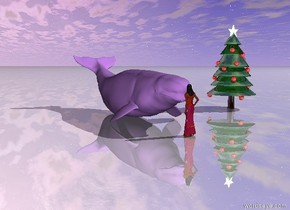 the very big lavender beluga is several inches in front of the large princess. beluga is facing princess. the ground is shiny. the very big shiny christmas tree is 20 feet to the left of the beluga.