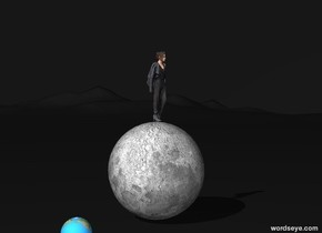 The ground is dark gray. The sky is dark gray. A tiny woman is on a large moon. A tiny planet is one foot to its left. .