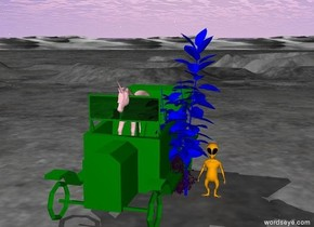 The pink unicorn is one foot left of the purple bush under a blue tree with a orange alien in a green car