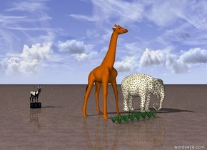 Enormous grass is in front of a giraffe. A crate is 5 meters behind the giraffe. A goat is on the crate. A dotted white elephant is two meters to the right of the giraffe. The ground is dirt. The sky is sunny.