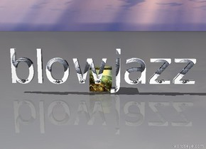 the word blowjazz in front of a sunrise