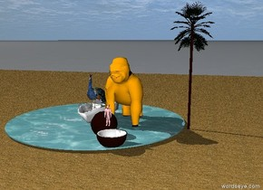the huge floor is sand. A peacock is on a small boat. the boat is on the floor. a orange gorilla is on the right of the boat. a huge pineapple is in front of the gorilla. a tiny palm tree is 2 feet to the right of the gorilla. a tiny pink devil is inside the pineapple. a small pond is under the boat. the pond is 2 inches above the floor.