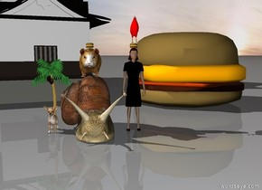 The chicken is on the burger which is on the lady. There is a castle 6 foot behind the lady to the left. There is a 8 foot tall sandwich 6 foot behind the lady to the right. To the left of the lady is a 4 foot tall snail. A 2 foot tall hamster is on the snail. There is a burger on the hamster. To the left of the snail is a big dog. On the dog is a 4 foot tall tree.