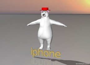 A polar bear is standing on a gold iphone. there is a red hat on the bear.