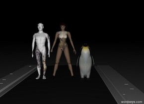 bat man, cat woman and the penguin in a street. it is night.