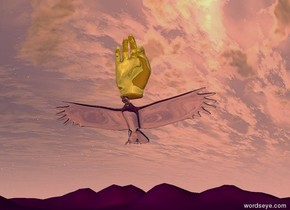 A transparent bird is 2 feet above a tall purple mountain range. A giant gold hand is above the bird. The yellow light is above the hand. The red light is below the bird.