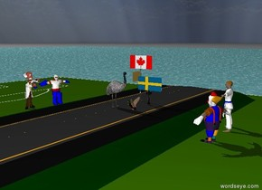 The road is on the small field. The field is in the ocean. The emu is on the road. The emu is facing east. The tiny flagpole is a few feet behind the emu. The flag on the flagpole is Canadian. The flagpole is facing south. The duck is east of the emu. The duck is facing the emu. The tiny post is a few feet behind the duck. The flag on the post is Swedish. The people to the east of the road are facing the duck. The people to the west of the road are facing the emu. The sky is cloudy.