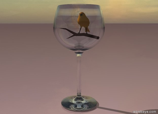 Input text: The sky is bright. The ground is pale. The canary fits in the wine glass.