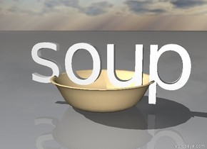 the soup is in the huge bowl