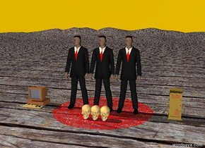 The 3 businessmen are on the wooden mountain range. The red rug is under the men.  The sky is marmalade.  A computer is 2 feet east of the men. A computer is 2 feet west of the men. Three skulls are 1 foot in front of the men.
