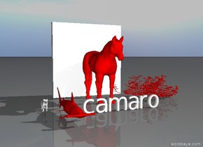 there is a red shark. to the right of the shark there is a camaro. behind the camaro there is red horse. behind the horse is a white brick wall. to the right of the horse there is a red rose. to the shark is a white cat. it is morning.