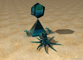 there is a translucent teal octopus on a beach. there is a one foot tall translucent teal pyramid behind the octopus. there is a one foot long translucent teal squid to the left of the pyramid. there is a one foot long translucent teal icosahedron above the pyramid. there is a one foot long translucent teal squid to the right of the pyramid.