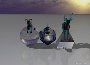 a translucent teal antelope is in a translucent 6 feet tall clear pyramid. the translucent teal goat is in a 6 feet tall clear sphere. the translucent teal shark is in a 6 feet tall clear icosahedron.