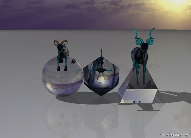Input text: a translucent teal antelope is in a translucent 6 feet tall clear pyramid. the translucent teal goat is in a 6 feet tall clear sphere. the translucent teal shark is in a 6 feet tall clear icosahedron.