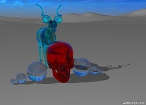 a translucent red skull is on the ground. there is a 6 inch tall clear sphere to the left of the skull. there is a 3 inch tall clear sphere to the left of it. there is a 1.5 inch tall clear sphere to the left of it. there is a 6 inch tall clear sphere to the right of the skull. there is a 3 inch tall clear sphere to the right of it. there is a 1.5 inch tall clear sphere to the right of it. there is a two feet tall translucent teal antelope behind the skull.