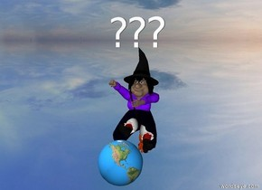 "The earth is 2 feet above the ground. The ground is silver. There is a wizard behind the earth. ""???"" is above the wizard."