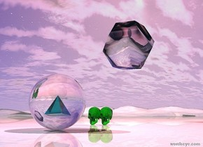 there is a clear sphere on the shiny ground. there is a pink illuminator above it. there is a 3 inch tall translucent teal pyramid 8 inches in the sphere. there is a 6 inches tall  translucent green skull two feet behind the sphere. there is a pink illuminator behind the skull. there is a 6 inches tall translucent green skull left of the skull. there is a 2 feet tall clear dodecahedron 2 feet above and three feet behind the skull. there is a red illuminator below the dodecahedron. the sky is firmament
