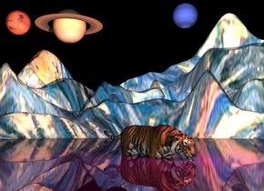 the large shiny purple lake is on the shiny very tall van gogh ground. the huge tiger is 4 feet in the lake. a yellow light is a foot above the tiger. it is in front of the tiger. a large saturn is 30 feet above the tiger. it is 38 feet behind the tiger. it is right of the tiger. the large neptune is 40 feet right of saturn. it is 4 feet above saturn. it is facing left. the huge mars is two feet left of saturn.  it is night. A magenta light is above the yellow light.