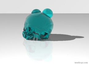 the ground is white. the sky is white. there is an eight inch tall translucent teal skull. it is 3 inches in the ground. it is leaning west. there is a 2 inches tall translucent teal sphere above the skull. it is 0.5 inches in the skull. there is a 2.1 inches tall translucent teal sphere to the right of it.