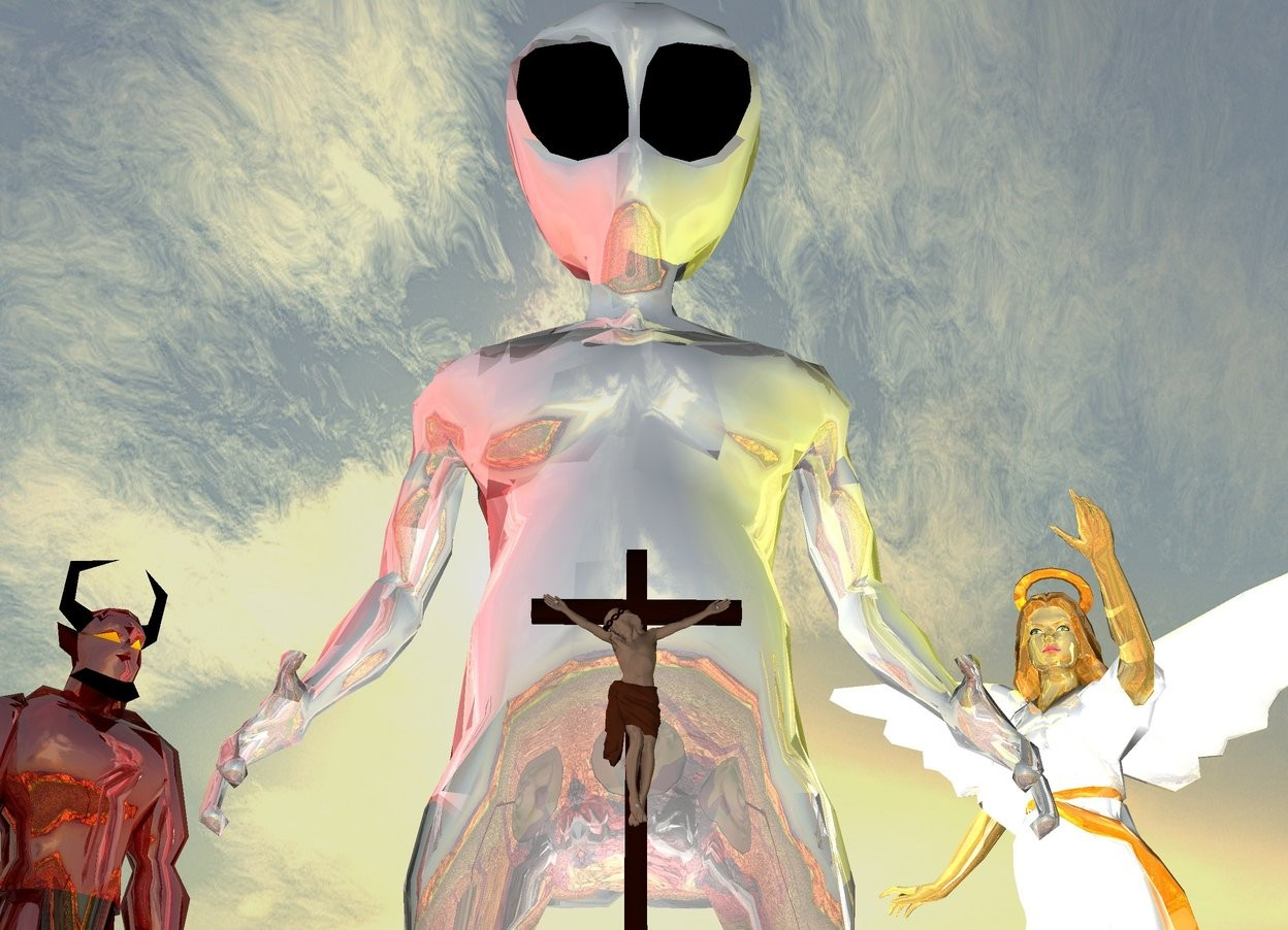 Input text: jesus is above the tiny dark grey mountain. the enormous shiny grey alien is behind the mountain . the huge shiny devil is to the left of the alien. the huge shiny angel  is 15 feet to the right of the devil. the angel is facing the mountain. the devil is facing the jesus. the enormous light is 6 feet behind the mountain.. the red light is 1 feet above the devil. the yellow light is 1 feet above the angel. the green light is 1 feet above the alien.